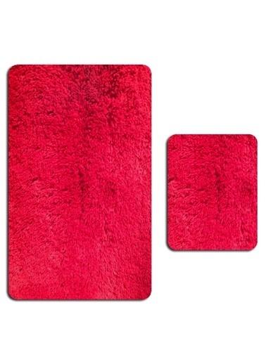 MarkaEv Tavşan Tüyü Banyo Takımı 2 li Kırmızı